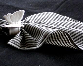 Striped linen napkins natural gray black stripes set of 4 dinner napkin placemat serviette 14 inch square