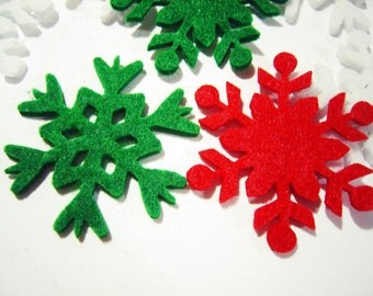 Thick Felt x18 Mixed SNOWFLAKES Die Cuts - Winter Snowflakes- Cut Outs- Felt Pieces- Snowflakes-Winter Decorations-Holidays