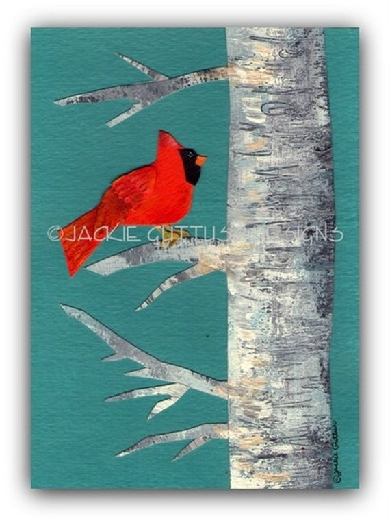 Cardinal art, Original, Christmas art, Cardinal in birch tree collage, Holiday art, Birch tree painting, Winter painting, Cardinal painting