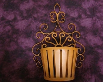 Wrought Iron Hand Painted Wall Pocket Terra Cotta Color