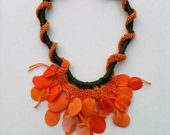 necklace orange. polimery clay and cotton