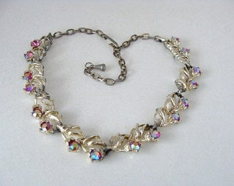 Vintage Choker Red Rhinestones Linked Sections