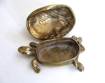 Vintage Brass Peerage Turtle Trinket/Match Box  England