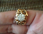 Vintage Men's 14K Gold Nugget and Diamond Ring