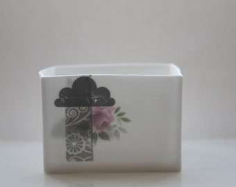 Big pure white cube made from English fine bone china and vintage illustrations - geometric decor- illustrated ceramics