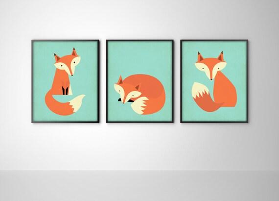 Jual Wall Art Print : Foxes set of three fox art print posters by bysamantha