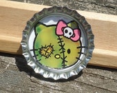 Pretty Zombie Kitty Bottle Cap Pin