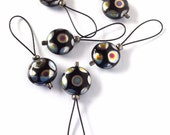 Black/silver flexible/snag-free Czech glass bead knitting stitch markers, set of 6.