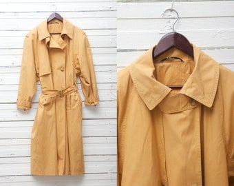 1980s True Vintage Midi Tawny Brown Button Up Double Breasted Belted Trench Coat / Women's Long Sleeve Jacket  / Size L Large