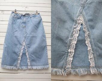 Short Vintage Light Blue Baby Blue Denim Pencil Skirt   White Lace Skirt   Size 10 Medium   90s Fashion