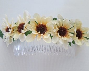 Rustic Sunflower Comb-Autumn Bridal Comb-Fall Wedding- Rustic Wedding Hair Comb-Sunflower Comb
