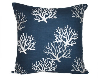 Navy Coral Pillow Cover - Any Size - Decorative Toss Pillow in Navy and White