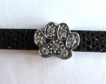 5 pieces RHINESTONE PAW Slide Charm