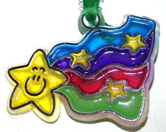 ORNAMENT Rainbow And Smiley Star Acrylic Handpainted Home Decor