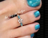 Toe Ring - Silver Violet - Metallic Turquoise - Stretch Bead Toe Ring