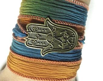 Bohemian Hamsa Silk Wrap Bracelet Yoga Jewelry Protection Evil Eye Bracelet Hand Of Fatima Wrist Wrap Bracelet Christmas Stocking Stuffer
