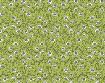1 YARD -Cushion & Dust Poppies in Green by Sarah Watts for Blend Fabrics