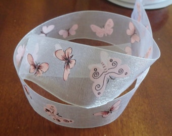 """Pink butterflies 1.5"""" sheer white ribbon, 5 yards (180 inches)"""