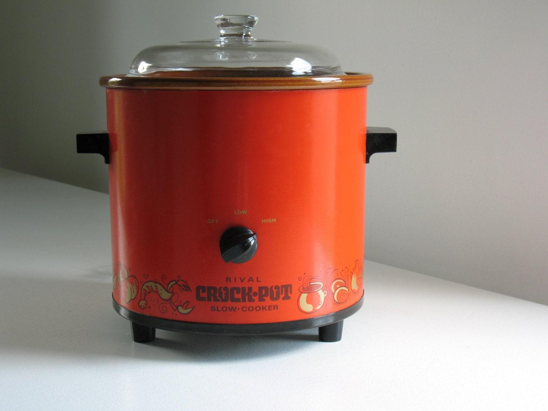 Vintage Rival Crock Pot Red Orange Spice O Life 3 Quart Slow