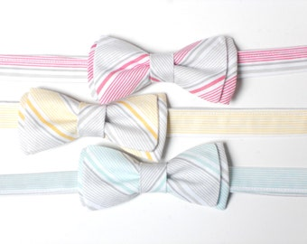 Wedding bow tie for ring bearer, yellow and gray stripe bow tie for boys, striped bow tie, boys bow tie, summer yellow bow tie, pink wedding