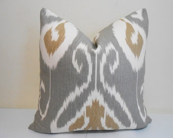 Kravet Ikat Pillow Cover - Kravet Bansuri Grey Ikat Pillow - Gray Ikat Designer Pillow - Sofa Pillow- 18 x 18