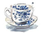 Tea cup print. Illustration. Kitchen decor.