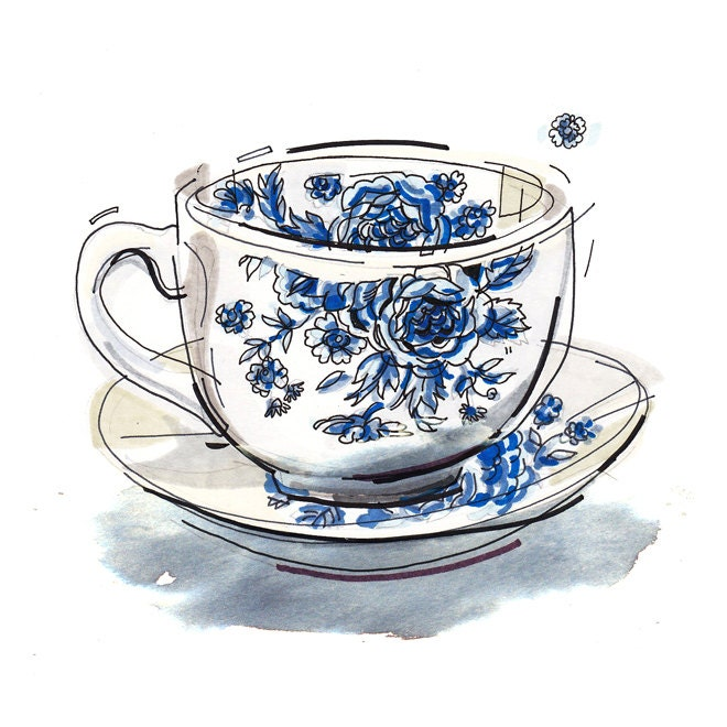 Tea Cup Print Illustration Kitchen Decor By Loupaper On