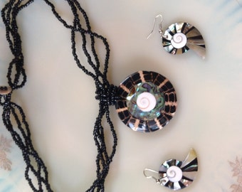 Shiva Eye, Abalone, Mother of Pearl ,Black Laba Laba, Shell Necklace and Earring Set