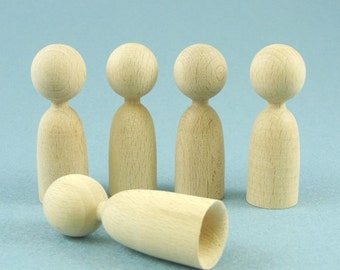 Wood Finger Puppet Bases Set of 5 Waldorf Style