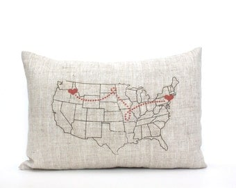 """map pillow, housewarming gift, gift for her, personalized pillow, wedding gift, custom gift, mother's day gift, valentine gift """"The USA Map"""""""