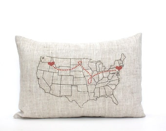Custom Pillows Specialty Gifts CoverLovenet By CoverLove On Etsy - Us map pillow personalized