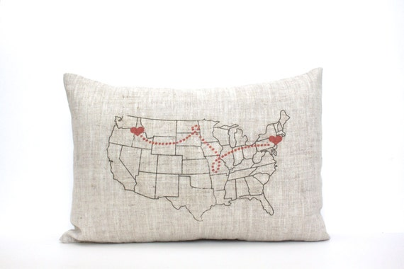 "map pillow, housewarming gift, gift for her, personalized pillow, wedding gift, custom gift, mother's day gift, christmas gift ""The USA Map"""
