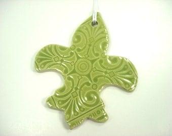 Green Fleur de Lis Ornament, Mardi Gras Fleur, New Orleans Symbol, New Orleans Decor, Fleur de Lis Decor, Mardi Gras Ornament,NOLA Christmas