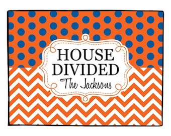 House Divided Doormat Personalized Door Mat Collegiate