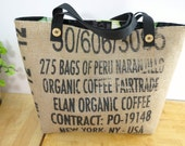Yoga Frog Tote, Burlap Coffee Bag, Upcycled Repurposed Recycled