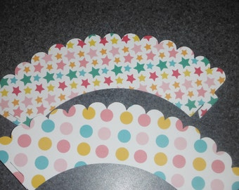Cupcake Wrappers  set of 12 baby shower  pink