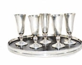 Reed Barton Sterling Cordial Glasses, Shot Glasses - Silver Retro Barware - Art Deco Silver - Cocktail Set -  6 pcs Apertif Glasses