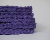 hand knit plushy cotton scrubbies in purple