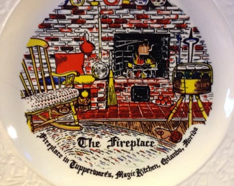 "Souvenir Plate ""The Fireplace"" Tupperware Magic Kitchen c.1957"