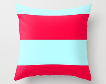 Ice Blue and Red Pillow Cover, Blue Pillow Cover, Red Pillow Cover
