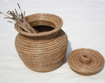 Unique Gift Pine Needle Basket Hand Made Decorative Basket Natural Decor For the Home