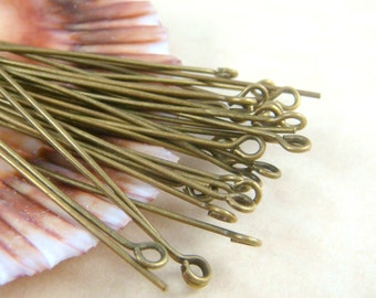 """Eye Pins, Brass Eye Pins - 2"""" Brass EyePins, Bronze Eye Pins - 5.0cmx0.7mm (ep5.0m-AB) - Select Qty. from Options"""