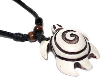 White Turtle Necklace -  Spiral Necklace