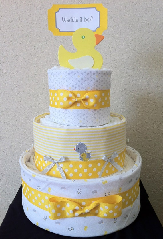 Yellow White And Gray Ducky 3 Tier Diaper Cake