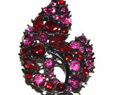 Vintage Brooch with Red and Pink Rhinestones Garden Party Wedding Collectable