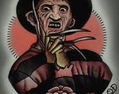 Freddy Krueger Tattoo Art Print