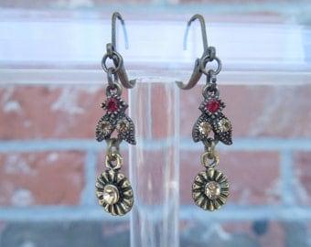 Flower Earrings with Red Rhinestones
