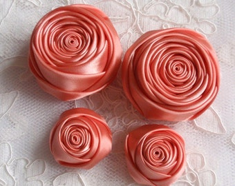 4 Handmade Ribbon Rolled Roses (2 inches,1-1/4 inch) in Lt Coral  MY-060-166 Ready To Ship