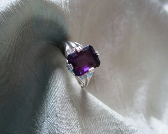 Natural Deep Purple Amethyst Size Seven Sterling Silver Ring
