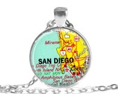 San Diego necklace pendant charm, California map jewelry, military dad gift, military jewelry, available as keychain, money clip